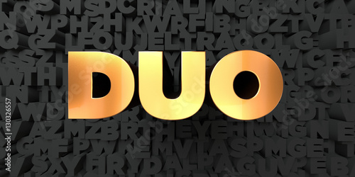 Duo - Gold text on black background - 3D rendered royalty free stock picture Poster