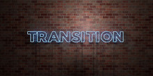 TRANSITION - Fluorescent Neon Tube Sign On Brickwork - Front View - 3D Rendered Royalty Free Stock Picture. Can Be Used For Online Banner Ads And Direct Mailers..