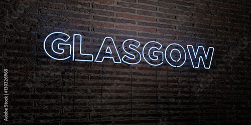 GLASGOW -Realistic Neon Sign on Brick Wall background - 3D rendered royalty free stock image. Can be used for online banner ads and direct mailers..