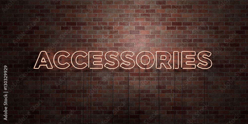 Fototapety, obrazy: ACCESSORIES - fluorescent Neon tube Sign on brickwork - Front view - 3D rendered royalty free stock picture. Can be used for online banner ads and direct mailers..