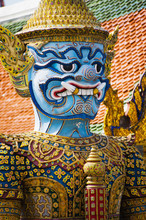 Colourful Guardian Statue Close Up, Grand Palace, Bangkok