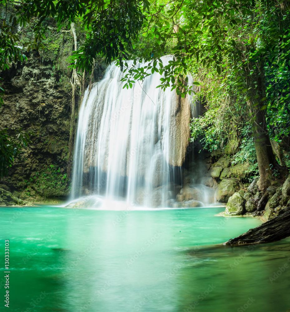 Erawan waterfall, the beautiful waterfall in forest at Erawan National Park - A beautiful waterfall on the River Kwai. Kanchanaburi, Thailand