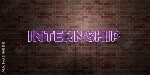 Fototapeta INTERNSHIP - fluorescent Neon tube Sign on brickwork - Front view - 3D rendered royalty free stock picture. Can be used for online banner ads and direct mailers.. obraz na płótnie