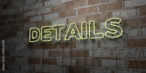 Fotografiet  DETAILS - Glowing Neon Sign on stonework wall - 3D rendered royalty free stock illustration