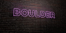 BOULDER -Realistic Neon Sign On Brick Wall Background - 3D Rendered Royalty Free Stock Image. Can Be Used For Online Banner Ads And Direct Mailers..