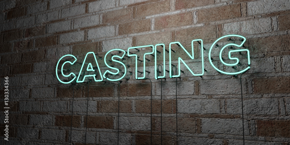 Fototapety, obrazy: CASTING - Glowing Neon Sign on stonework wall - 3D rendered royalty free stock illustration.  Can be used for online banner ads and direct mailers..