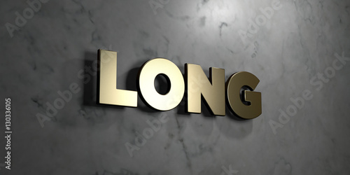 Fényképezés  Long - Gold sign mounted on glossy marble wall  - 3D rendered royalty free stock illustration