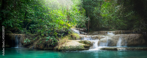 Foto op Plexiglas Watervallen Panorama Erawan waterfall, the beautiful waterfall in forest at Erawan National Park - A beautiful waterfall on the River Kwai. Kanchanaburi, Thailand