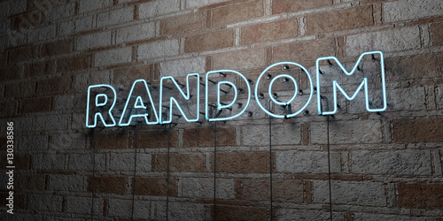 Obraz RANDOM - Glowing Neon Sign on stonework wall - 3D rendered royalty free stock illustration.  Can be used for online banner ads and direct mailers.. - fototapety do salonu
