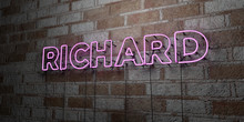RICHARD - Glowing Neon Sign On Stonework Wall - 3D Rendered Royalty Free Stock Illustration.  Can Be Used For Online Banner Ads And Direct Mailers..