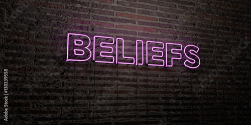 Pinturas sobre lienzo  BELIEFS -Realistic Neon Sign on Brick Wall background - 3D rendered royalty free stock image