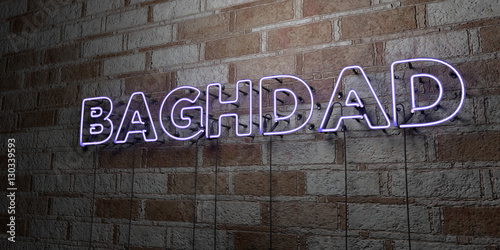 Fotografija  BAGHDAD - Glowing Neon Sign on stonework wall - 3D rendered royalty free stock illustration