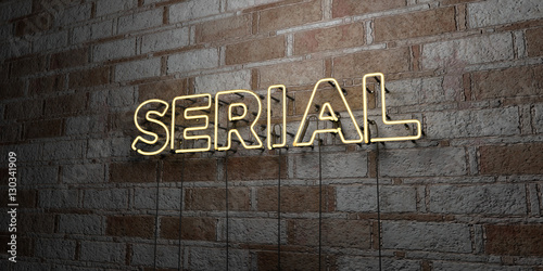 SERIAL - Glowing Neon Sign on stonework wall - 3D rendered royalty free stock illustration Wallpaper Mural