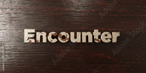 Encounter - grungy wooden headline on Maple  - 3D rendered royalty free stock image Poster