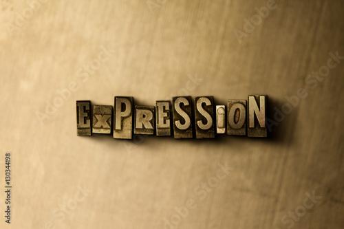 Fotografie, Obraz  EXPRESSION - close-up of grungy vintage typeset word on metal backdrop