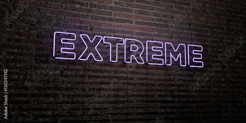 Fotografie, Obraz  EXTREME -Realistic Neon Sign on Brick Wall background - 3D rendered royalty free stock image