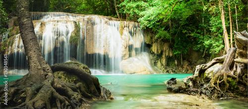 Foto op Canvas Watervallen Panorama Erawan waterfall, the beautiful waterfall in forest at Erawan National Park - A beautiful waterfall on the River Kwai. Kanchanaburi, Thailand