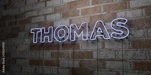 Fotografie, Obraz  THOMAS - Glowing Neon Sign on stonework wall - 3D rendered royalty free stock illustration