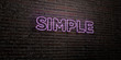 canvas print picture - SIMPLE -Realistic Neon Sign on Brick Wall background - 3D rendered royalty free stock image. Can be used for online banner ads and direct mailers..