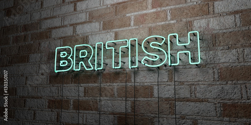 Fotografie, Obraz  BRITISH - Glowing Neon Sign on stonework wall - 3D rendered royalty free stock illustration