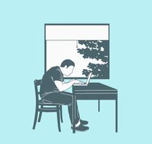 Illustration Of Man Using Lapt...
