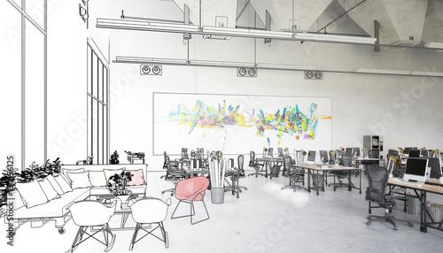 Photo sur Toile Drawn Street cafe Postindustrielle Flächenadaptation (Skizze)