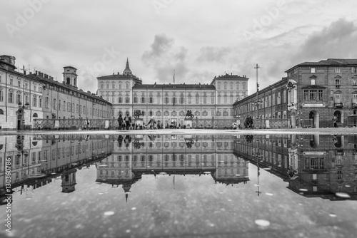 Photo  Piazza Castello in bianco e nero, Torino, Piemonte