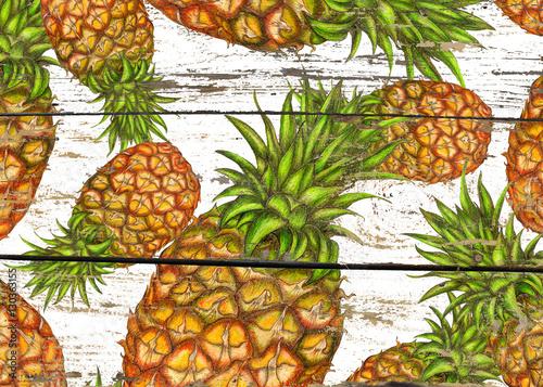 Naklejka dekoracyjna Ananasy na białej drewnianej teksturze