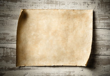 Antique Blank Parchment On Aged Wall