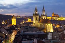 Overview Of The Historic Centre At Sunset, Prague, Czech Republic