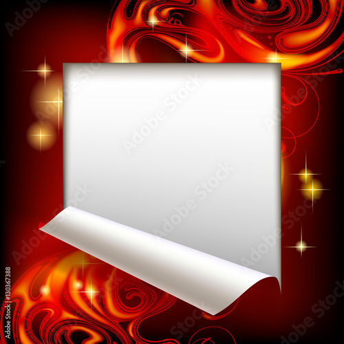 Valokuva  Cut framed paper sheet with red abstract luminous background