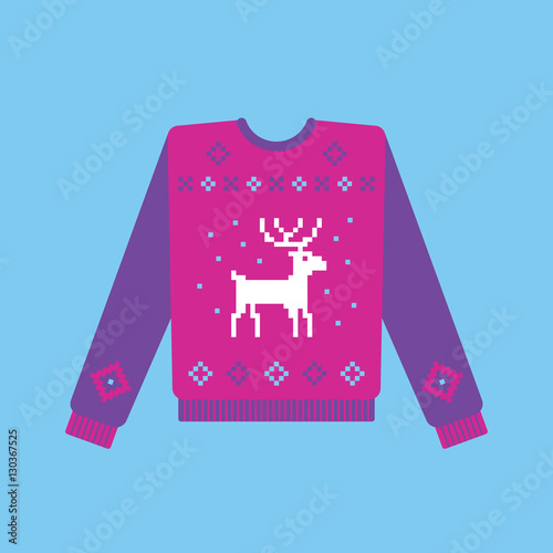 f3974e719 Ugly christmas sweater with deer and snowflakes pattern. Vector ...
