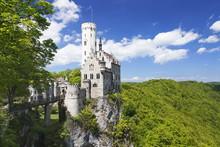 Lichtenstein Castle In Spring, Swabian Alb, Baden Wurttemberg, Germany