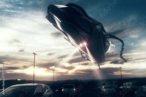 Foto op Aluminium UFO UFO above road with traffic