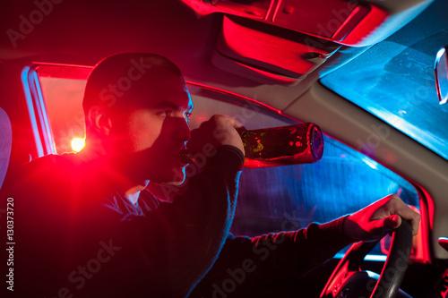 Fotografie, Obraz  Drunk man is caught driving under alcohol