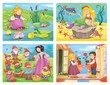 Collection of fairy tale illustrations. The frog prince. Mermaid. The Snow White and seven dwarfs. The Snow Queen