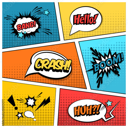 mock up of a typical comic book page with various speech bubbles