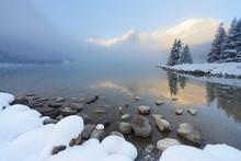 Foggy Sunrise At Lake Louise, ...