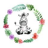 Cute baby zebra Animal for kindergarten, nursery, children clothing, pattern - 130376344