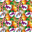 Seamless pattern with funny snowmen. Vector clip art.