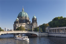 Excursion Boat On Spree River, Berliner Dom (Berlin Cathedral), Spree River, Museum Island, Mitte, Berlin