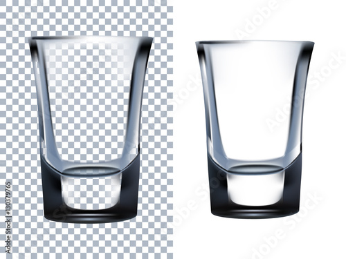 Obraz na plátně  Shot Glass Transparent Isolated on White Background.