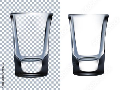 Photo  Shot Glass Transparent Isolated on White Background.