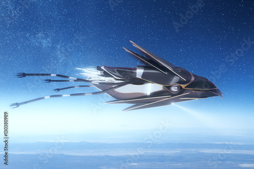 Foto op Canvas UFO UFO on space background