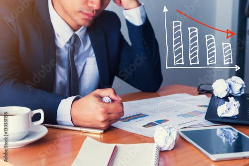 Businessman strain on earnings. Tablou Canvas