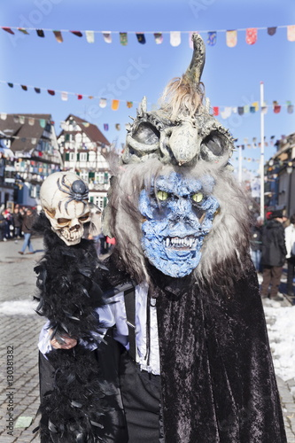 Foto op Canvas Carnaval Fantasy monster costume, Swabian Alemannic Carnival, Gengenbach, Black Forest, Baden Wurttemberg, Germany, Europe
