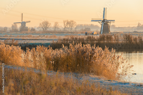 Lonely Dutch Windmills on a Cold winters morning Canvas Print