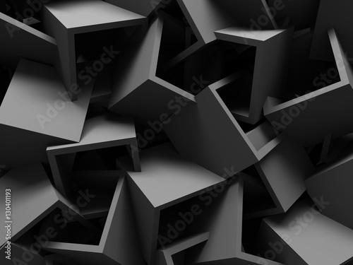 Fototapeta abstrakcyjne ciemnoszare kostki 3D