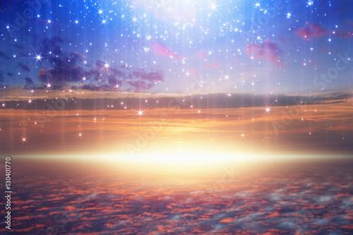 bright light from heaven, stars fall from skies Slika na platnu