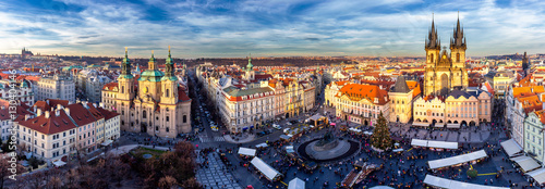 Spoed Foto op Canvas Praag Panorama of Old Town square (czech: Staromestske namesti) during Christmas market with Castle, Church of our Lady Tyn, St. Nicholas church, Prague, Czech Republic. High resolution image.